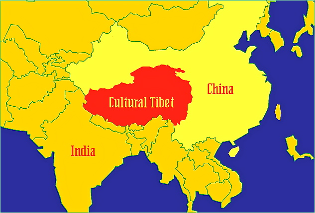 tibet plateau on world map Tibet