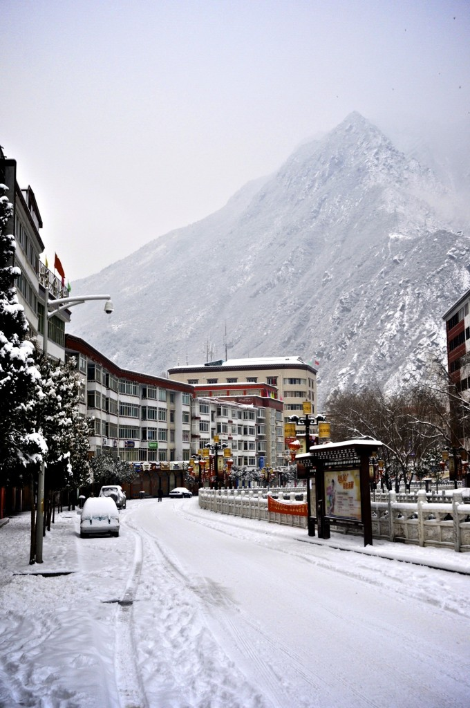 Kangding covered in winter snow