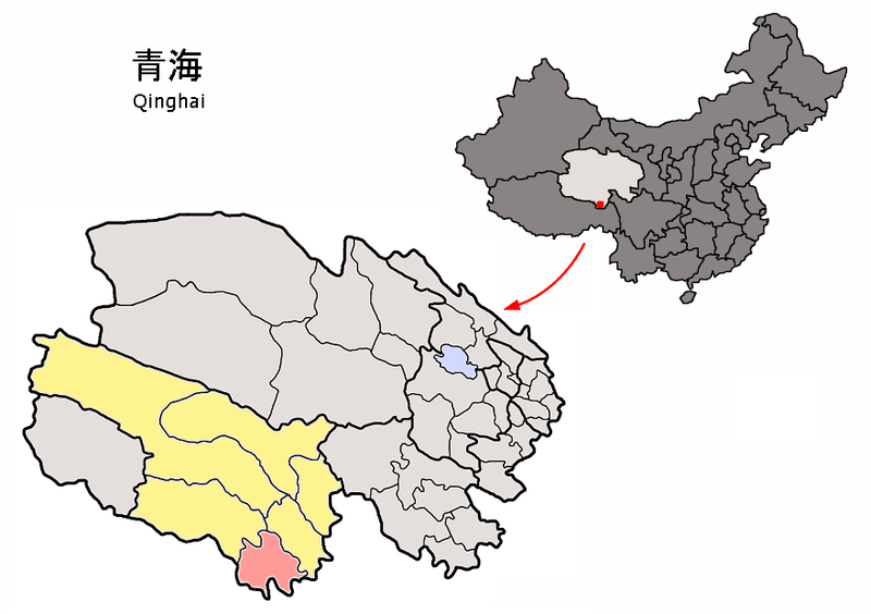 Map of Qinghai with Yushu prefecture in yellow and Nangchen county in pink