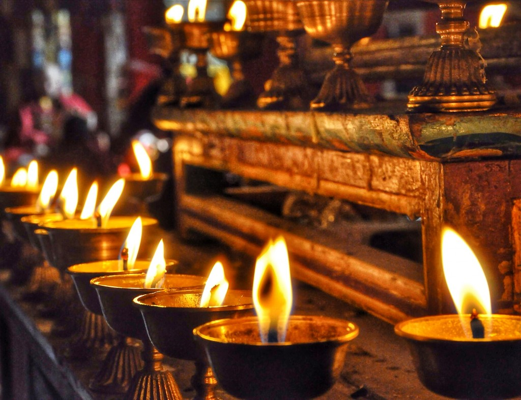 Butter candles in a monastery in Tibet