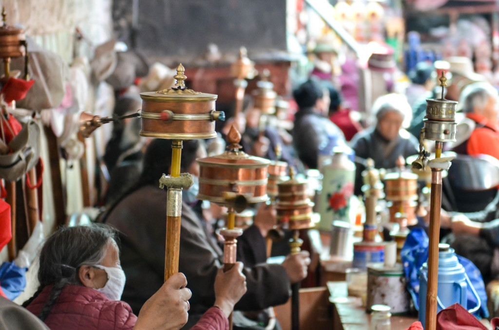 Lhasa prayer wheels