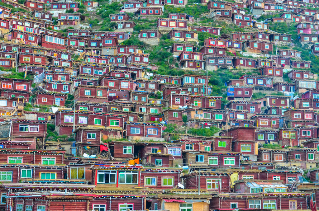 The Larung Gar Buddhist Institute in eastern Tibet