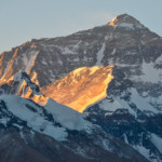 The sun rising on Mt Everest in Tibet