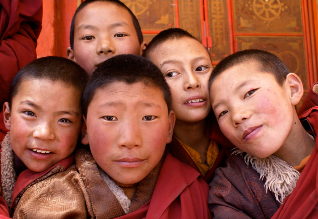 Young monks at a monastery in eastern Tibet