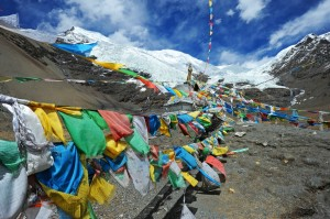 The Karo La Glacier with prayer flags
