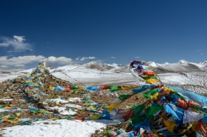 Prayer flags at the Gyatso La Pass