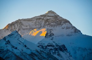 Sun rising on Everest